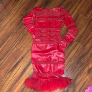 Red Leather/ Sheer dress